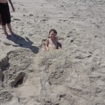 Blake buried in the sand....this was his limit....LOL!