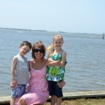Laura & kids at Cape Fear