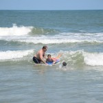Nathan learning to catch waves!